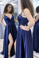 Crossed Pleats V Neck Bodice Deep Blue Evening Club Gathering Dress With Slit