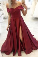 Wine Red Slit Evening Public Occasion Dress Off Shoulder Neck With Flouncing
