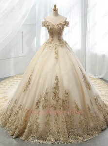 Off Shoulder Cathedral Train Champagne Wedding Bridal Ball Gown Luxurious Lacework