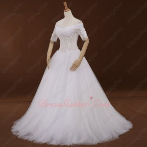 Transparent Corset Off Shouler Half Sleeves Soft Tulle Flowing Puffy Wedding Gowns