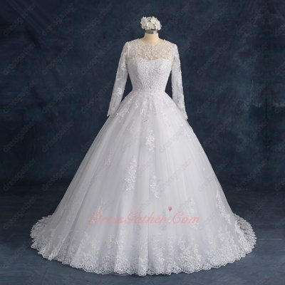 Sedate Long Sleeves Appliques and Beading Off White Wedding Bridal Gowns High Street