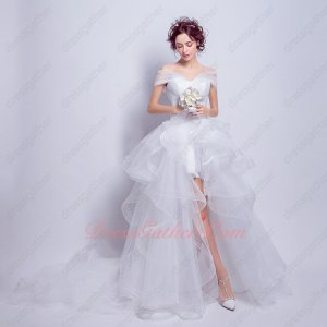 Wrapped Shoulder V neck High Low Horsehair Tulle White Beach Summer Wedding Dresses