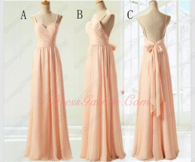 Peach Floor Length Bridesmaid Long Dresses Team-buying Under 80