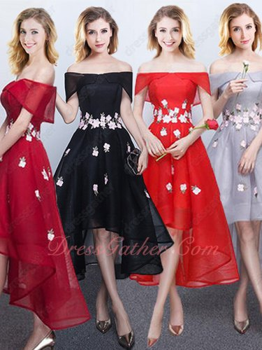 Quality Flat Shouler Flowers Decorate Hi-Low Homecoming Dress With Elastic Edge