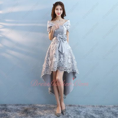 Luxurious Strapless High Low Lacework Stage Show Prom Dress Designer Recommend