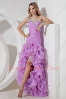 Elegant One Shoulder Thick Organza Lilac High Low Ruffles Formal Prom Gowns Attire