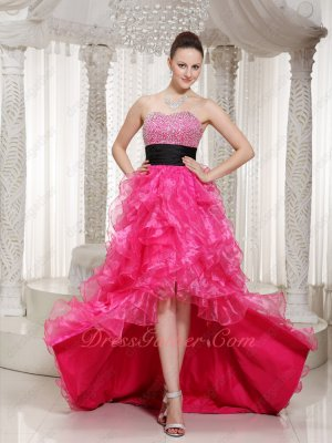 Black Ribbon Decorate Beading Skirt Hot Pink Ruffle High-Low Carnival Dress