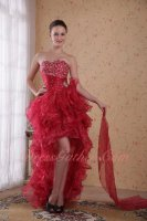 New Trend Beaded Bodice High-low Ruffle Carmine Red Cocktail Dress Bustle