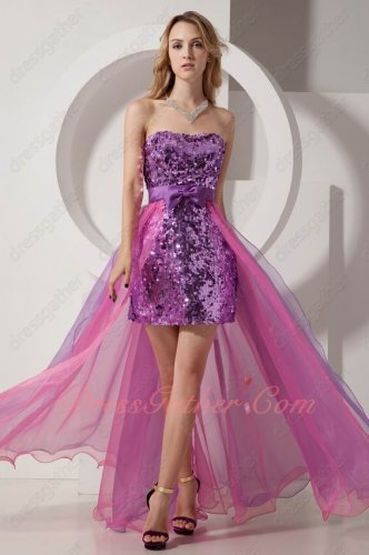 Ablaze Purple Paillette Package Hips Short Prom Dress Detachable High Low Train