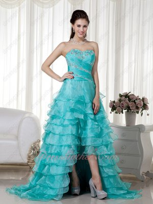 Dignified Beading Turquoise Organza Multilayers High-low Skirt Dress Award Ceremony Wear