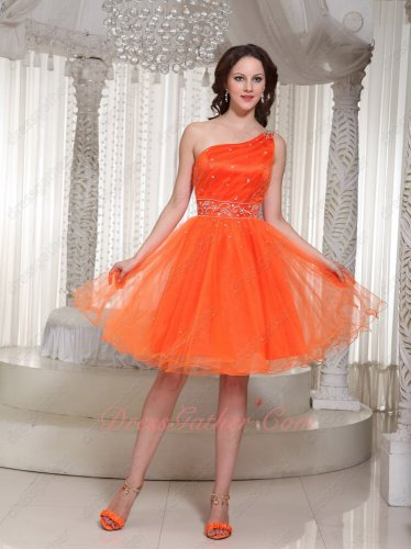 Captivating Beaded Left Strap Brightly Orange Tulle Spring Prom Mini Dress Boutique