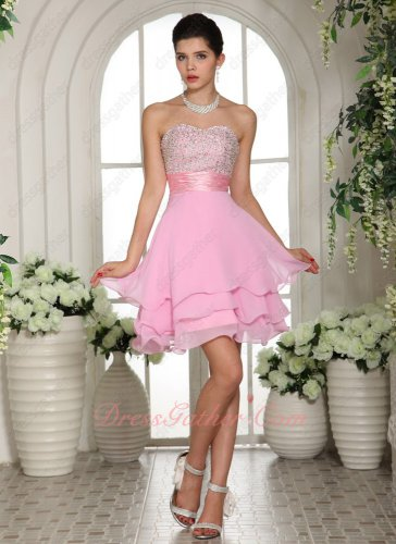 Silver Beading Blouse Pink Chiffon Curled Edge Dancers Partner Prom Dress Online Buy