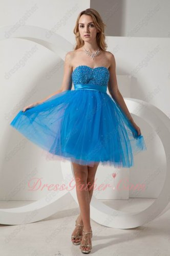 Beading Bust Empire Waist Azure Blue Fluffy Layers Tulle Short Prom Gowns