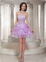 Applique Decorate Transparent Waist Multilayers Lilac Short Dancing Prom Dress Exciting