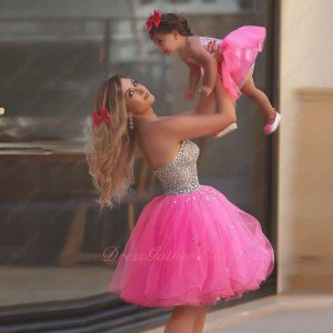 Cute AB Crystals Mini Hot Pink Prom Dress Custom Made For Mother & Baby