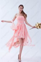 Varying Length Blush Chiffon Strips Irregularity Hemline Short Prom Dress