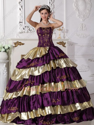 Grape Purple and Shiny Gold Alternant Layers Skirt Quinceanera Gowns Embroidery