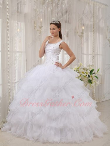 Square Neckline Cascade Layers Cake White Ball Gown Cut-out Lace Up Back