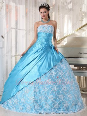 Bright Aqua Blue Elastic Silk Satin Quince Ball Gown Lace Skirt With Coverage