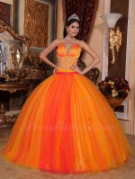 Spaghetti Straps Deep Yellow Sweet 16 Quinceanera Party Gown With Orange Red Covered
