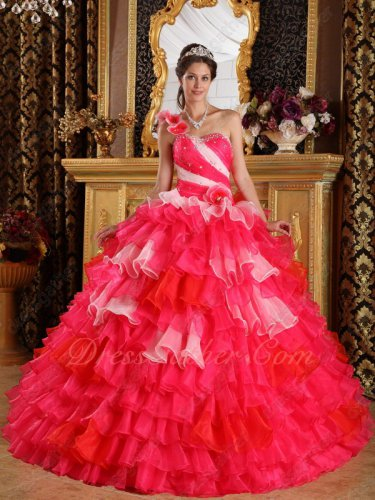 Single Shoulder Layers Cake Gown Quinceanera Dress Hot Pink/Red/Pink Mixed
