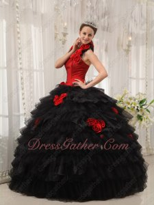DIY Halter/Sweetheart Detachable Strap Red and Black Quinceanera Layers Ball Gown Cake