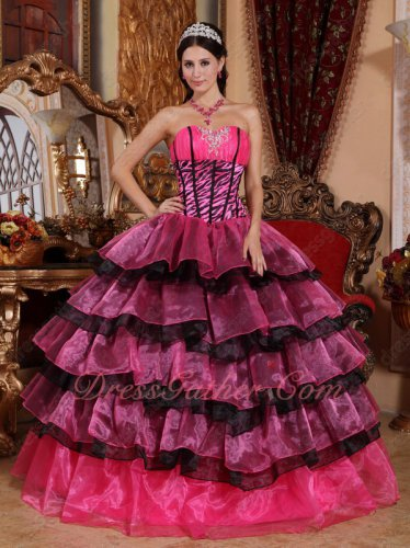Zebra Boidce Hot Pink and Black Mixed Layers Skirt Vintage Cake Ball Gown China