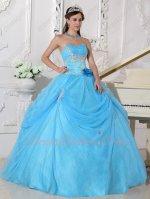 Demure Handmade 3D Rose Flower Waistline Evening Ball Gown In Auqa