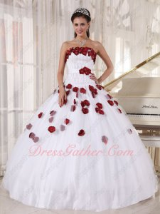 Romantic Pure White With Burgundy Flowers Quinceanera Ball Gown Wear For Runway