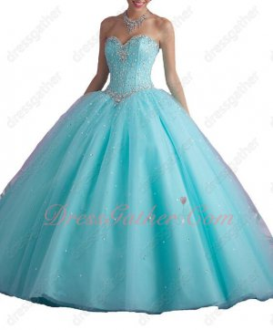 Classical Ice Blue Floor Length Crystals Puberty Girl Quince Party Ball Gown