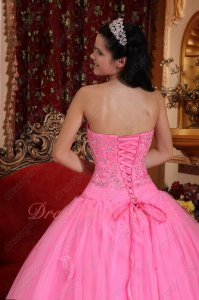 Lovely Rose Pink Flat Layers Tulle Quince Ball Gown Without Complaint/Dispute