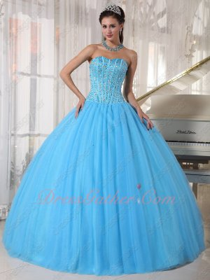 Lines/Stripes Beaded Bodice Women Prefer Aqua Blue Quinceanera Ball Gown Pageant