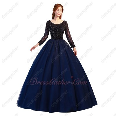 Scoop Long Sleeves Full Beading Corset Navy Blue Tulle Puffy Quinceanera Gowns 2019