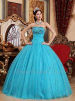 2019 Strapless Pin-tucks Light Teal Blue Tulle/Gauze Quinceanera Gown Princess