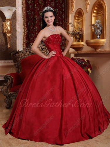 Special Price Wine Red Taffeta Quince Court Ball Gown Flat Skirt Without any Details