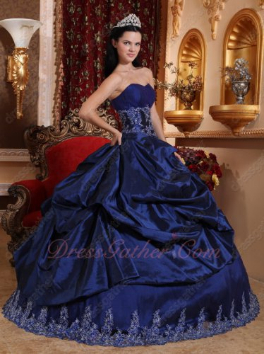Navy Blue Taffeta Overlay With Lacework Hemline Puffy Military Evening Ball Gown