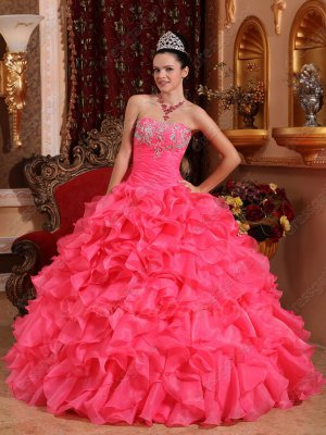 Full Ruffles Skirt Hot Pink Thick Organza Quinceanera Vestido De