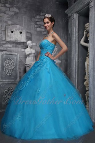 Azure Blue Mesh Lacework Edge Skirt Corset Back Prom Court Ball Gown Under 200