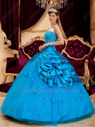 Deep Azure Blue Nice Quince Court Gown Side Bubble Open Flat Mesh Skirt