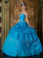 Azure Dodger Blue Taffeta Quinceanera Dress Designer Prefer Under 190 Dollar
