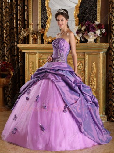 Strapless Mallow Clematis Taffeta Bubble Open Flat Mesh Quinceanera Dress For Girl