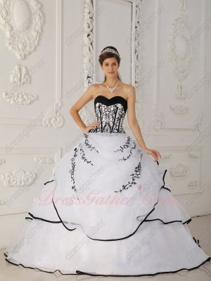 Pure White Train Western Quinceanera Gown Black Embroidery Factory Online