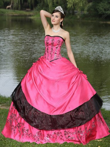 Lolita Style Fuchsia and Black Quinceanera Ball Gown Shinny Paillette Applique