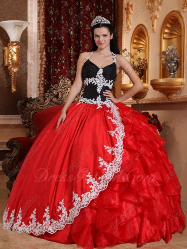 Halter Natural Waist Black Corset Quinceanera Party Ball Gown Red Taffeta Cover Ruffles
