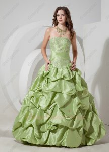 Yellow Green Puff Taffeta Women Prom Formal Party Ball Gown Low Price