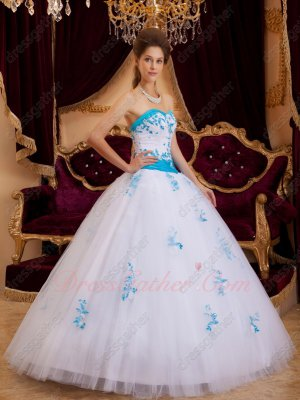 Elegant Trimed Drama Prom Ball Gown White With Azure Blue Applique