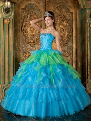 Azure Blue With Spring Green Layers Cake Ball Gown For Girl Quinceanera 15th
