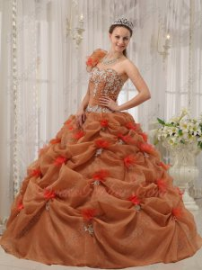 Beautiful One-shoulder Flowers Strap Rust Brown Quinceanera Ball Gown Cheap