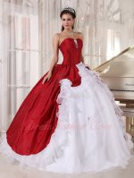 Wine Red Taffeta Open Flat Pure White Organza Skirt Military Strapless Ball Gown