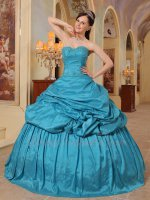 Decent Teal Blue Taffeta University Quinceanera Ball Gown Special Price Supplier